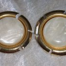 Signed Sarah Coventry clip on earrings gold tone faux shell plastic vintage