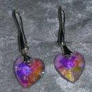pink Crystal heart earrings pierced hook silver tone Downton Abbey