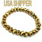 Gold Glass crystal bead stretch bracelet lose stone Downton Abbey