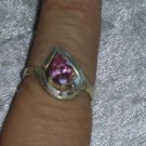 Vintage pink Ice stone Sterling silver ring Downton Abbey size 7.5