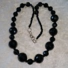 Black jet crystal glass beads vintage necklace Mourning Jewerly