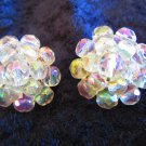 Vintage cluster button earrings aurora borealis signed Western Germany