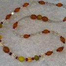 Orange beads glass Aurora Borealis crystal necklace Vintage Elegant Timeless