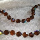Vintage brown tan color rhinestones rare Choker 16 1/2 inches