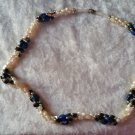 fresh water pearl blue stone hematite necklace vintage wedding old new blue