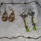 lot 2 pierced earrings Crystals 1 necklace St patricks day celtic looking