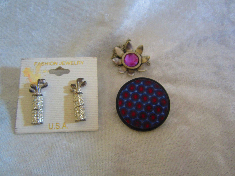 Vintage copper necklace golf bag earrings flower necklace purple mod pin