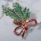 Vintage pin brooch enamel work mistletoe bow Christmas at Downton Abbey