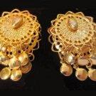 Vintage clipon shimmering goldtone earrings disc dangles bellydancer filigree