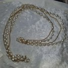vintage gold tone faux pearl necklace & gold chain elegant look at pics 57 inche