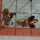 vintage gold tone clip on tan brown amber rust color earrings Downton Abbey