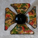 Gold Vintage brooch pin brooch different handmade one of a kind surfer cross