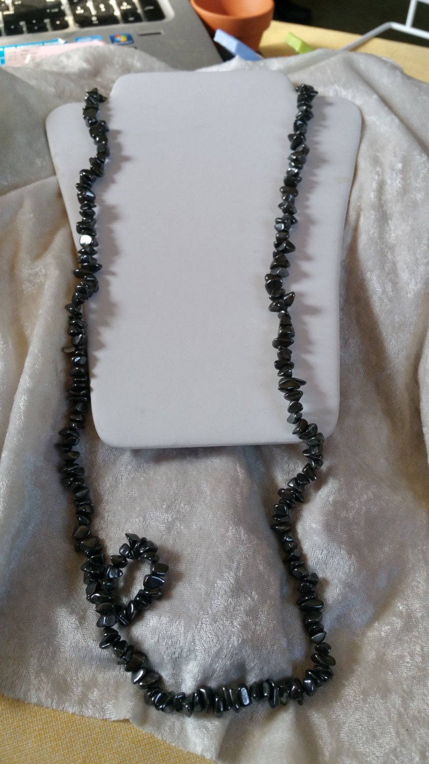 Vintage Hematite beaded necklace string black heavy long healing stone Chakras
