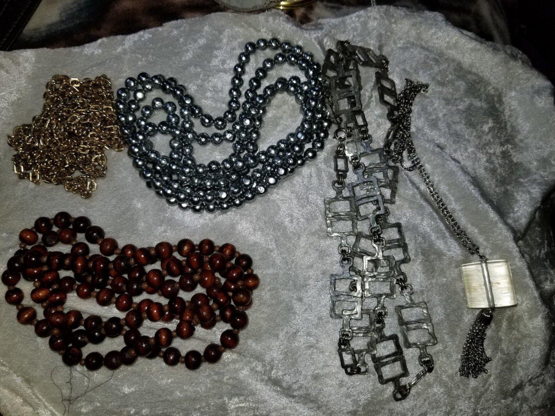 Vintage five necklaces wood plastic gold and silver tone lucite tassle