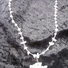 Rose quarts Dragon necklace pendent silver tone chain stones are more white Reki