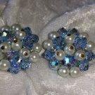 vintage blue cluster button earrings silver tone Aurora borealis faux pearls