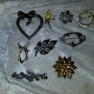 Lot of vintage pins brooches flowers rhinestones sarah coventry Holly sold as is