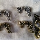 Cat Kitten pussy kitty earrings adorable silve or gold tone dangle rhinestone