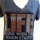NEW WOMENS   Rhinestone football life   T-Shirt Tee  -S,M,L,XL,2XL