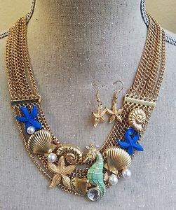 NWT Ocean Themed - Sea Life Starfish/Sea Shell Charms Necklace & Earrings Set2