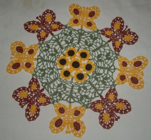 Butterfly and Flowers Crochet Doily Pattern