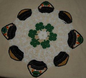 St. Patrick's Day Leprechaun & Pots of Gold Crochet Doily Pattern
