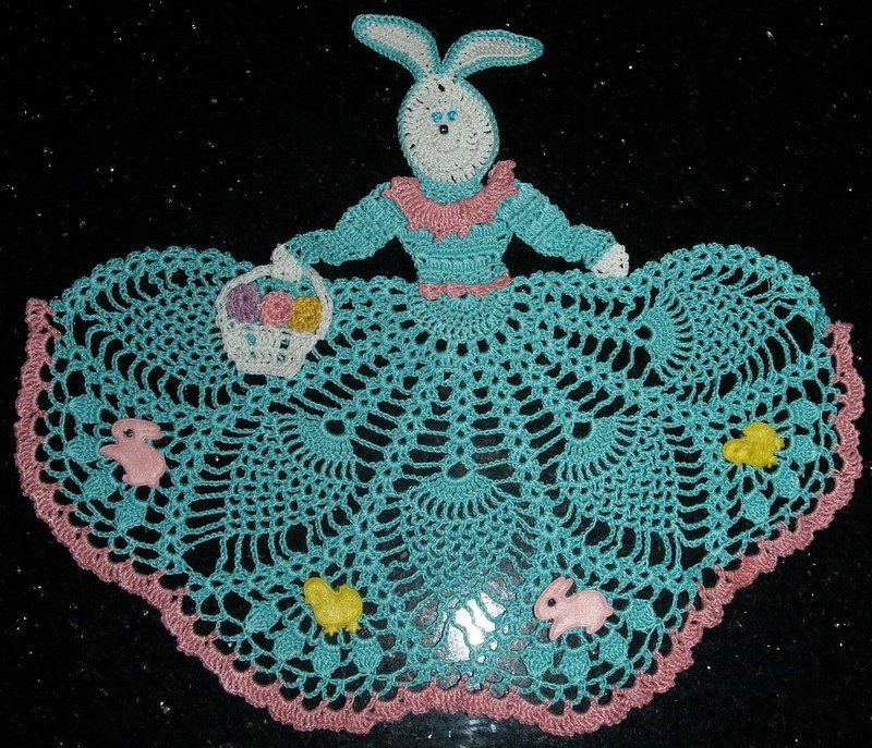 Easter Bunny Girl Crochet Doily Pattern