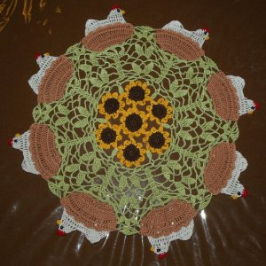 Crochet Chicken - Hen on Nest and Sunflower Doily Pattern