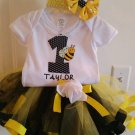 Bumble Bee Tutu trimmed with Ribbon Outfit 24m-4t