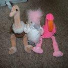 Set of 3 Beenie Babies- Flamingo, Ostrich, Bird