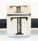 European Antique Silver Letter Bead -T