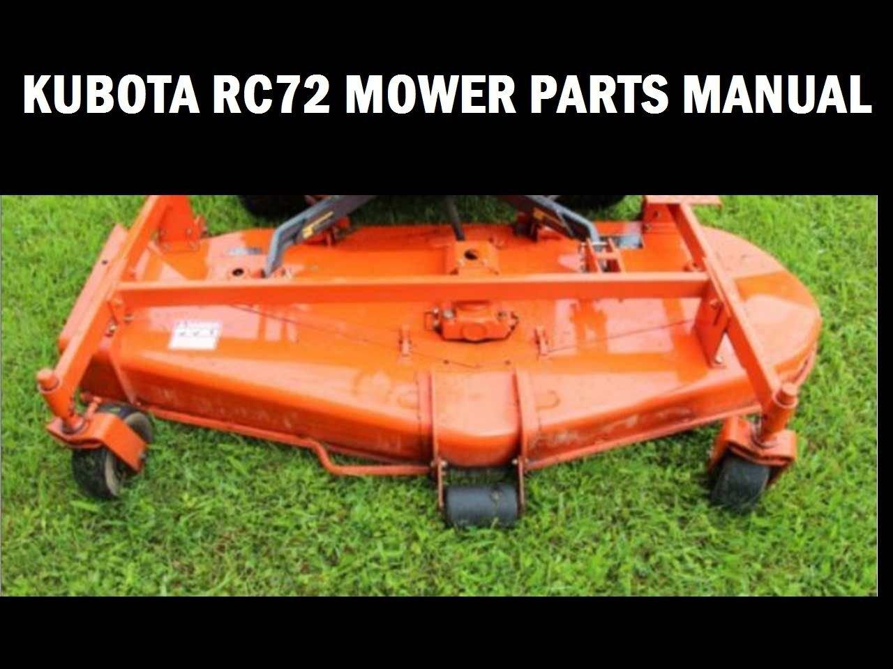 Kubota Rc72 Mower Parts Manuals For Rc72