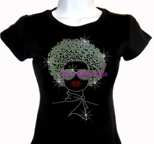 Lady with Afro - SILVER - Iron on Rhinestone - Junior Fitted Black T-Shirt - Pick Size S-3XL - Top