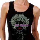 Lady with Afro - SILVER - Iron on Rhinestone - Junior Black TANK TOP - Pick Size S-3XL - Shirt