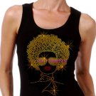 Lady with Afro - GOLD - Iron on Rhinestone - Junior Black TANK TOP - Pick Size S-3XL - Shirt