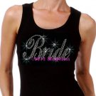 Bride - Large - Iron on Rhinestone - Junior Black TANK TOP - Pick Size S-3XL - Bridal Shirt