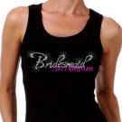 Bridesmaid - Iron on Rhinestone - Junior Black TANK TOP - Pick Size S-3XL - Bridal Bride Shirt
