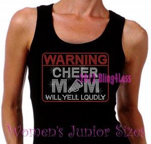 WARNING - Cheer Mom - Iron on Rhinestone - Junior Black TANK TOP - Pick Size S-3XL