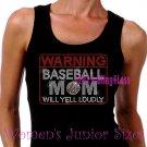 WARNING - Baseball Mom - Iron on Rhinestone - Junior Black TANK TOP - Pick Size S-3XL