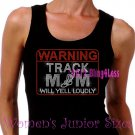 WARNING - Track Mom - Iron on Rhinestone - Junior Black TANK TOP - Pick Size S-3XL