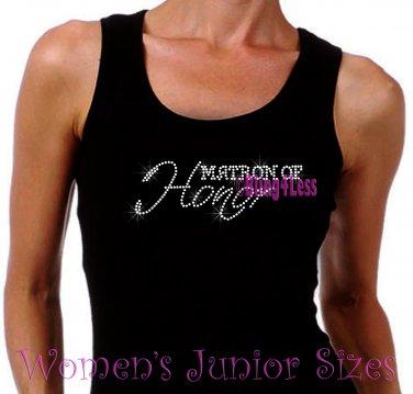 Matron of Honor - Iron on Rhinestone - Junior Black TANK TOP - Pick Size S-3XL - Bridal Bride Shirt