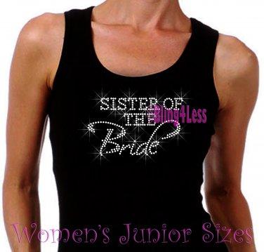 Sister of the Bride - Iron on Rhinestone - Junior Black TANK TOP - Pick Size S-3XL - Bridal Shirt