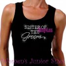 Sister of the Groom - Iron on Rhinestone - Junior Black TANK TOP - Pick Size S-3XL - Bridal Bride