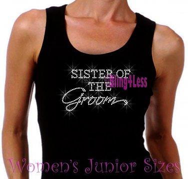 Sister of the Groom - Iron on Rhinestone - Junior Black TANK TOP - Pick Size S-3XL - Bridal Bride