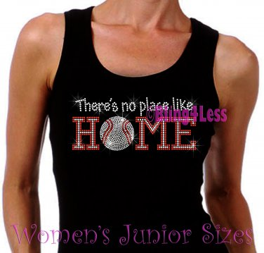 Baseball - There's No Place Like Home - Iron on Rhinestone - Junior Black TANK TOP - NS