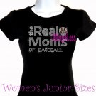 The Real Moms of - BASEBALL - Iron on Rhinestone - Junior Fitted Black T-Shirt - Sports Mom Top