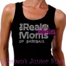 The Real Moms of - BASEBALL - Iron on Rhinestone - Junior Black TANK TOP - Sports Mom Shirt