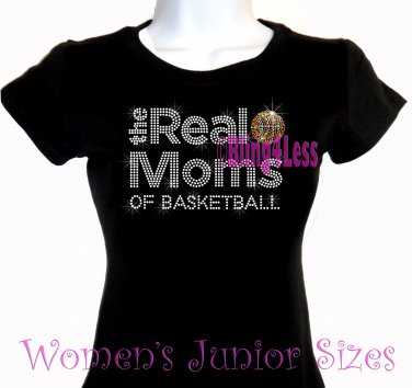 The Real Moms of - BASKETBALL - Iron on Rhinestone - Junior Fitted Black T-Shirt - Sports Mom Top