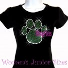 Large GREEN Paw Print - Rhinestone Iron on - Junior Fitted Black T-Shirt - Bling School Mascot Top