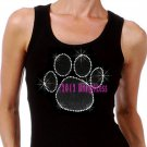 Large BLACK Paw Print - Iron on Rhinestone - Junior Black TANK TOP - Bling School Mascot Top